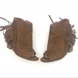 COCONUTS by Matisse Brown Suede Fringe Bootie